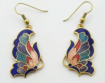 Vintage Cloisonne Butterfly Earrings in Blue
