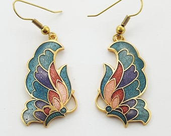 Vintage Cloisonne Butterfly Earrings in Teal