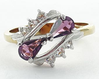 Vintage Faux Amethyst Pear Duo Ring