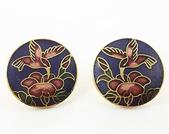 Vintage Cloisonne Hummingbird Earrings in Purple