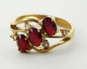 Triple Oval Faux Ruby Cocktail Ring