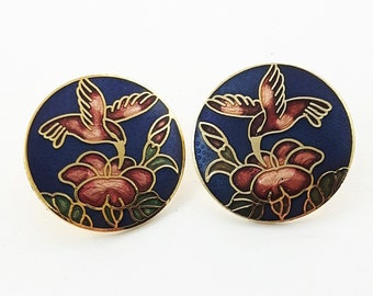 Vintage Cloisonne Hummingbird Earrings in Blue