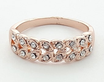 Vintage Style Rose Gold Crystal Band