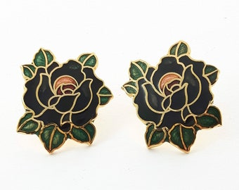 Vintage Pinup Cloisonne Black Rose Earrings