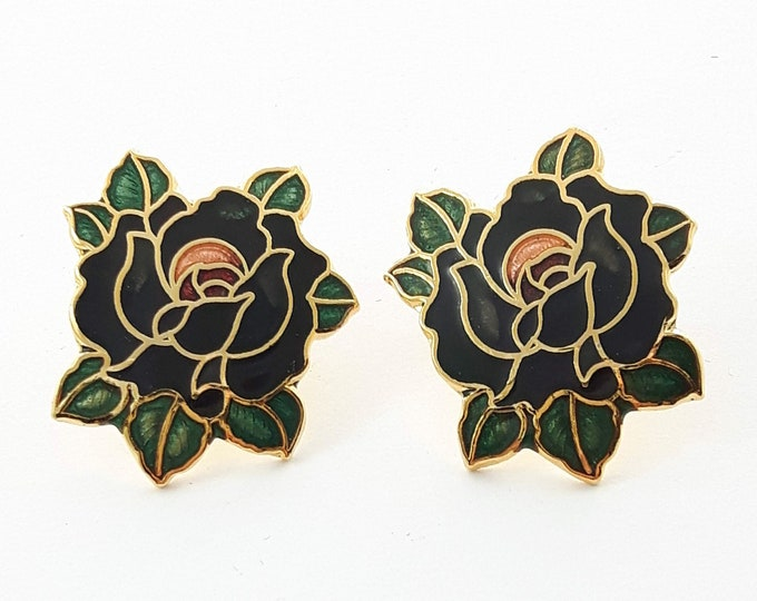 Featured listing image: Vintage Pinup Cloisonne Black Rose Earrings