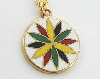 Joy & Prosperity Charm Necklace in Gold - White Enamel Charm Neckace