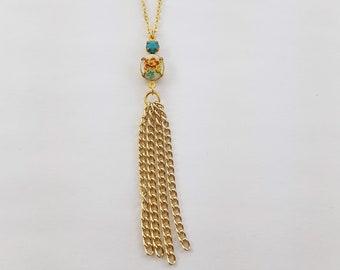 Vintage Floral Turquoise Tassel Necklace