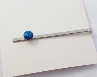 Ocean Blue Crystal Silver Tie Bar