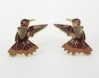 Vintage Cloisonne Bird Earrings in Rose and Burgundy