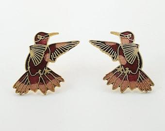 Vintage Cloisonne Bird Earrings in Rose and Burgundy