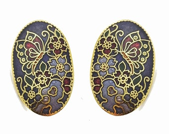 Vintage Cloisonne Butterfly Earrings in Purple