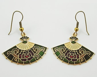 Vintage Cloisonne Fan Earrings in Green