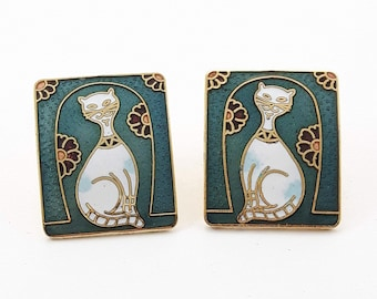 Vintage Cloisonne Cat Earrings in Teal