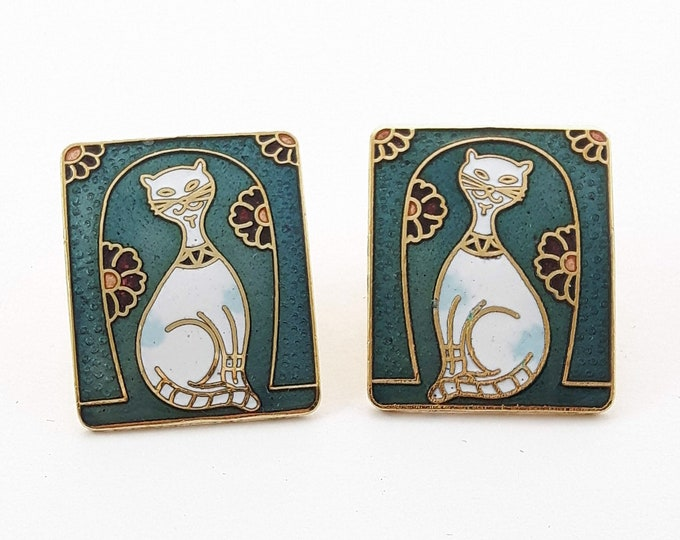 Featured listing image: Vintage Cloisonne Cat Earrings in Teal