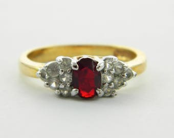 Oval Faux Ruby Cocktail Ring