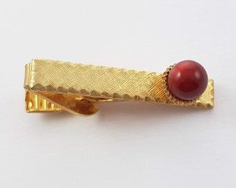 Vintage Burgundy Moonstone Tie Clip