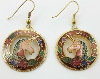 Vintage Cloisonne Unicorn Earrings in Caramel Brown