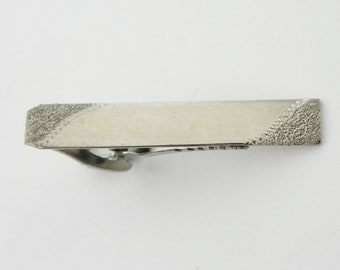 Vintage Silver Stipple Edge Tie Clip