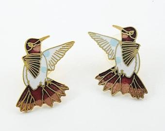Vintage Cloisonne Bird Earrings in Red, White & Blue