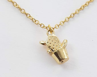 Gold Potted Cactus Charm Necklace