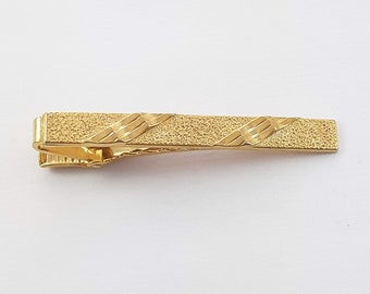 Vintage Gold Dust Textured Tie Clip