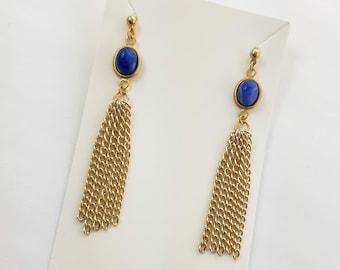 Lapis Blue Boho Tassel Earrings