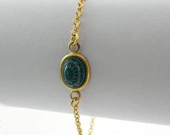 Mandala Bracelet in Teal & Charcoal