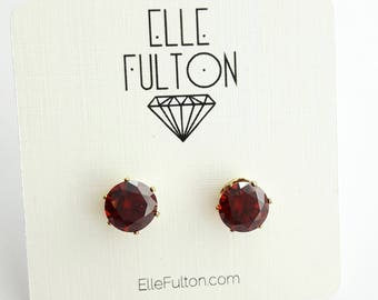 Ruby Crystal Cocktail Studs