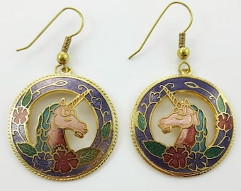 Vintage Cloisonne Unicorn Earrings in Violet