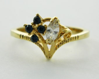Vintage Faux Sapphire Crystal Marquise Ring
