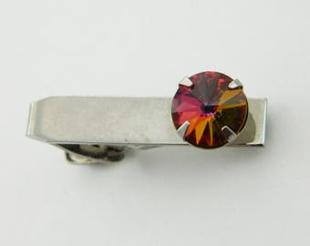Silver Rainbow Topaz Tie Clip