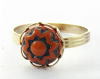 Glass Mandala Ring - Burnt Orange Glass Ring