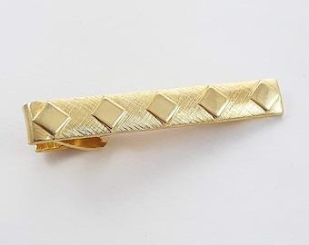 Vintage Gold Diamond Print Tie Clip