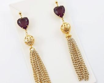 Amethyst Heart Tassel Earrings