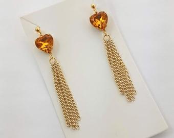 Amber Topaz Crystal Heart Tassel Earrings