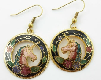 Vintage Cloisonne Unicorn Earrings in Black