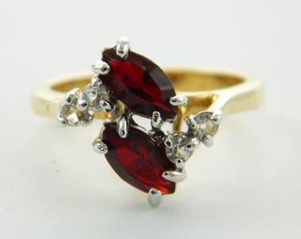 Vintage Goldplated Faux Ruby Marquise Duo Ring