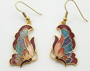 Vintage Cloisonne Butterfly Earrings in Red