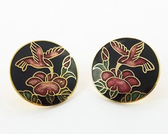 Vintage Cloisonne Hummingbird Earrings in Black