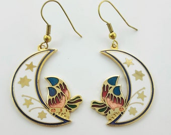 Vintage Cloisonne Crescent Moon Earrings in White