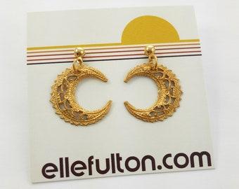Vintage Brass Crescent Moon Earrings