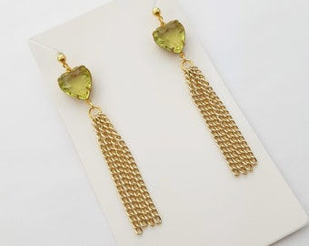 Lemon Crystal Heart Tassel Earrings