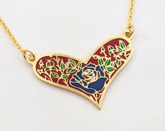 Enamel Heart Necklace with Blue Rose