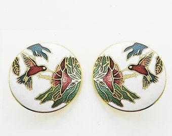 Vintage Enamel Hummingbird Studs in White