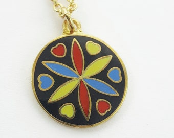 Love & Romance Charm Necklace in Gold - Black Enamel Charm Neckace