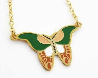 Vintage 70s Enamel Green Butterfly Necklace