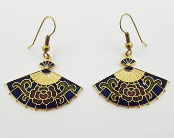 Vintage Cloisonne Fan Earrings in Blue