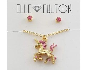 Pink and Gold Unicorn Jewelry Gift Set