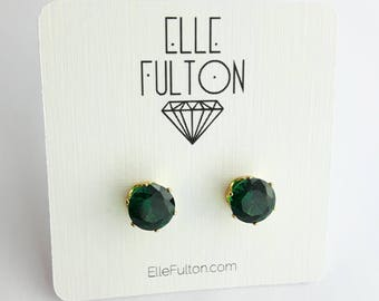 Emerald Crystal Cocktail Studs