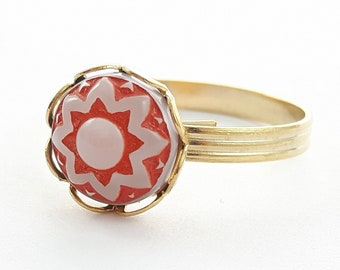 Glass Mandala Ring - Red and White Glass Ring